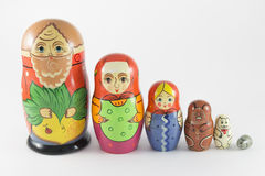 Nesting Dolls on the fairy tale The Turnip Royalty Free Stock Photo