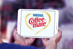Nestle coffee mate logo. Logo of nestle coffee mate on samsung tablet Stock Images