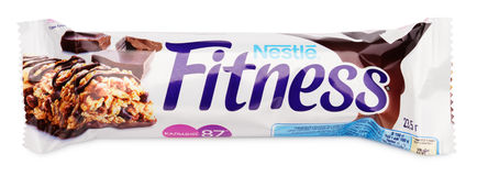 Nestle Fitness dark chocolate flavor wholegrain cereal bar isolated on white Stock Photo