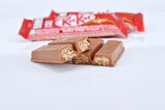 Nestle kit kat chocolate bar. KUALA LUMPUR MALAYSIA, JUNE 4 2017. Kit Kat is a chocolate covered wafer bar created in 1911 by Rowntree`s of York, England. Nestle Royalty Free Stock Photo
