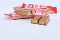 Nestle kit kat chocolate bar. KUALA LUMPUR MALAYSIA, JUNE 4 2017. Kit Kat is a chocolate covered wafer bar created in 1911 by Rowntree`s of York, England. Nestle Royalty Free Stock Images