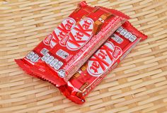 Nestle kit kat chocolate bar. KUALA LUMPUR MALAYSIA, JUNE 4 2017. Kit Kat is a chocolate covered wafer bar created in 1911 by Rowntree`s of York, England. Nestle Stock Photo