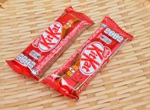 Nestle kit kat chocolate bar. KUALA LUMPUR MALAYSIA, JUNE 4 2017. Kit Kat is a chocolate covered wafer bar created in 1911 by Rowntree`s of York, England. Nestle Royalty Free Stock Image