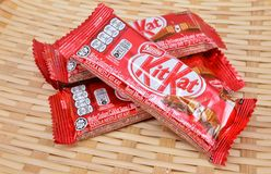 Nestle kit kat chocolate bar. KUALA LUMPUR MALAYSIA, JUNE 4 2017. Kit Kat is a chocolate covered wafer bar created in 1911 by Rowntree`s of York, England. Nestle Royalty Free Stock Photography