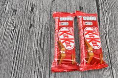 Nestle kit kat chocolate bar. KUALA LUMPUR MALAYSIA, JUNE 4 2017. Kit Kat is a chocolate covered wafer bar created in 1911 by Rowntree`s of York, England. Nestle Stock Photos
