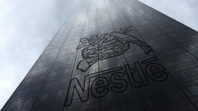 Free Nestle Logo On A Skyscraper Facade Reflecting Clouds. Editorial 3D Rendering Royalty Free Stock Photos - 102039848