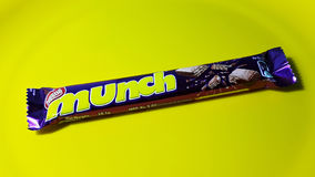Nestle Munch packet. Placed on a yellow background Stock Photography