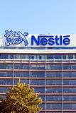 Nestle Office Building. Frankfurt, Germany - July 7, 2013: Office building with huge company sign of Swiss multinational food and beverage company Nestle S.A Stock Image