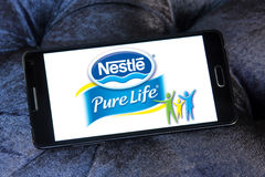 Nestle pure life logo. Logo of nestle pure life mineral water on samsung mobile Stock Images
