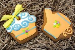 Nestled Glazed Gingerbread With Sweet Decoration Stock Image