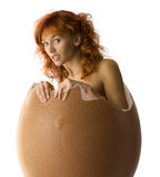 The nestling. Girl coming up from a broken egg like a chick Stock Images