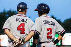Nestor Perez and Omar Obregon, Rome Braves Royalty Free Stock Images
