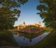 Nesvizh城堡 迟来的 库存照片