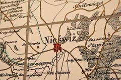 Nesvizh auf der Karte Lizenzfreie Stockfotografie