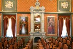 NESVIZH, BIELORRÚSSIA - 20 de maio de 2017: Detalhes e elementos do interior de um castelo medieval em Nesvizh Imagens de Stock Royalty Free