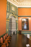 NESVIZH, BIELORRÚSSIA - 20 de maio de 2017: Detalhes e elementos do interior de um castelo medieval em Nesvizh Imagem de Stock