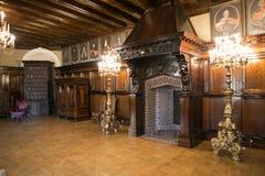 NESVIZH, BIELORRÚSSIA - 20 de maio de 2017: Detalhes e elementos do interior de um castelo medieval em Nesvizh Fotografia de Stock Royalty Free