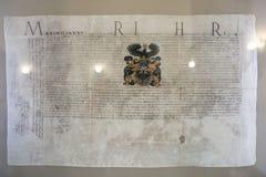 NESVIZH, BIELORRÚSSIA - 20 de maio de 2017: Detalhes e elementos do interior de um castelo medieval em Nesvizh Fotos de Stock Royalty Free