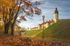 Nesvizh castle in autumn evening, Belarus Minsk region. royalty free stock photos