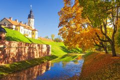 Nesvizh castle at autumn sunny clear day. Colourful yellow and red trees, blue sky, green grass, falling autumnal leaves. In river in Nesvizh park. Amazing view royalty free stock photography