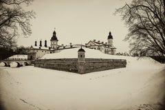Nesvizh Castle. winter stock photography