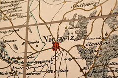 Nesvizh on the map. An old map marked with her ??Nesvizh. Radziwill castle Royalty Free Stock Photography