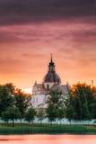 Nesvizh, regione di Minsk, Bielorussia Corpus Christi Church And Castle Fotografia Stock Libera da Diritti