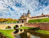 Nesvizh slott - medeltida slott i Vitryssland Royaltyfri Fotografi