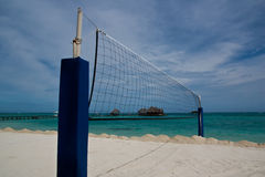 Net. Volley ball beach net on the beach at maldive Stock Photography