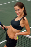 Your Female Tennis Sports Partner At the Net stock images