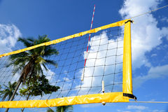The net of beach volleyball. The net of beach volleyball have blue sky to be background stock images