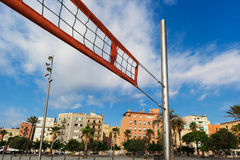 Net for beach volleyball. In background of city stock photo