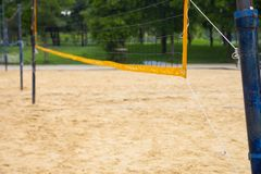 Net for beach volleyball. That was installed in the garden. And the floor was pouring with a lot of sand. In order to simulate the atmosphere of the beach royalty free stock photography