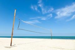 Net for beach volleyball on sea coast Royalty Free Stock Photos