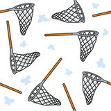 Net and Butterflies Seamless Pattern Royalty Free Stock Image