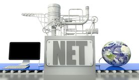 Net concept, computer and earth globe Royalty Free Stock Photography