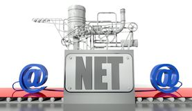 Net concept, e-mail signs and machine Royalty Free Stock Images