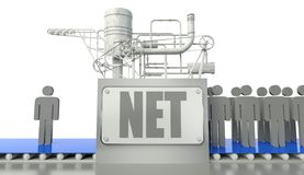 Net concept with man and group of people Stock Photography