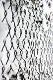 Net in de sneeuw Metaal netto met rijp stock foto