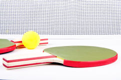 Net is fail!. Ping pong objects on white Royalty Free Stock Photography