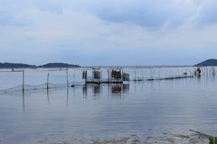 Net of fisherman in the sea on sunset time in the countryside royalty free stock images