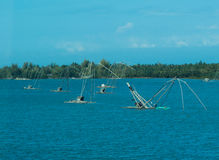Net fishing boats stock photography