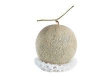 Net foam  wrap Melon on white background Stock Photo