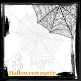 Net frame. Hand drawn  spider net with spider. grunge style halloween frame with a place for your text Royalty Free Stock Photography