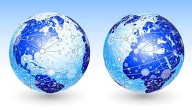 Net on globe. Royalty Free Stock Photos