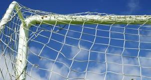 Net goal post in the field stock video footage