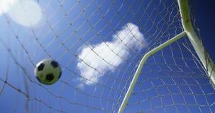 Net goal post in the field stock footage