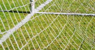 Net goal post in the field stock video
