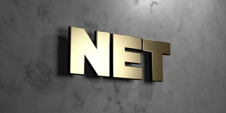 Net - Gold sign mounted on glossy marble wall  - 3D rendered royalty free stock illustration Stock Photography