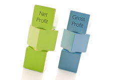 Net And Gross Profts. Net and Gross Profits Written On Building Blocks royalty free stock photos